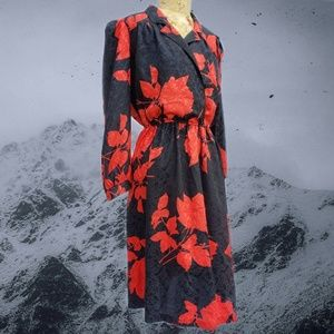1970s Coco of California red rose floral dress.